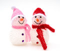 Two smiling toy christmas snow man snowman Royalty Free Stock Photography