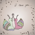 Two snails in love hand drawn vector illustration Royalty Free Stock Photos
