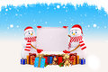 Two snow man holding a big sign with gifts Stock Photo