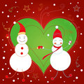 Two snow men,Christmas card Royalty Free Stock Photography