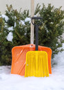 Two snow shovels Royalty Free Stock Photo