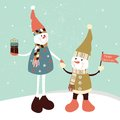 Two snowmans christmas greeting card with stylized Stock Photo