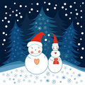 Two snowmen Royalty Free Stock Photo