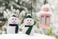Two Snowmen outdoor Royalty Free Stock Photography