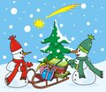 Two snowmen with scarf and sleigh gifts christmas cards Stock Photos