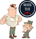 Two soldiers talking to each other vector illustration Royalty Free Stock Photo