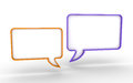 Two speech bubbles one blank d bubble next to another Royalty Free Stock Image
