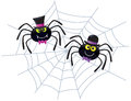Two spiders wearing hats on a web cartoon illustration of and bow ties Stock Image