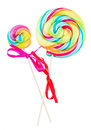 Two spiral lolly pops isolated on white background Stock Photography