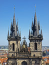 Two spires of Tyn Church Royalty Free Stock Photo