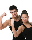 Two sportive people showing their biceps Stock Images