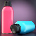 Two spray cans on dark background d illustration Royalty Free Stock Photos