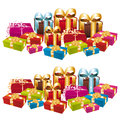 Two stacks of colorful festive gifts. Stock Image
