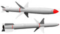 Two stage missile, rocket with fins