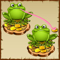 Two statue frog sits on coins fengshui talisman vector Royalty Free Stock Photos