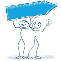 Two stick figures with a sign blue Royalty Free Stock Photo