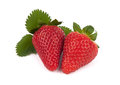 Two strawberries with big leaf isolated Stock Photo