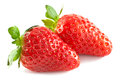 Two strawberries white background Stock Images