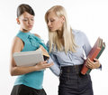 Two student and books Stock Images