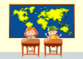Two students in geography class