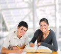 Two Students Studying Together Stock Photo