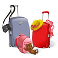 Two suitcases and children s backpack illustration Stock Photo