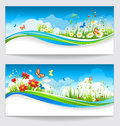 Two summer banners with flowers and butterflies sunny positive Stock Photography