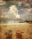 Two sun beach chairs Stock Image