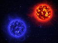 Two sun giant in space Royalty Free Stock Photography