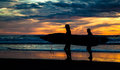 Two surfers on Piha Beach in sunset Royalty Free Stock Photo