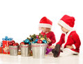 Two surprised santa helpers Royalty Free Stock Images