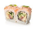 Two sushi and rolls on a white background Royalty Free Stock Photo