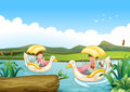 Two swan boats at the river illustration of Stock Photography