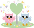 Two sweet owls in love wall sticker greeting card Royalty Free Stock Image
