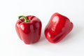 Two sweet red peppers Royalty Free Stock Photo