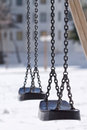 Two Swings in Winter Stock Photos
