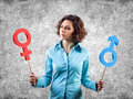 Two symbols different gender hands girl Royalty Free Stock Images