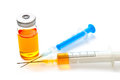 Two syringes and a vial filled glass with drug isolated Royalty Free Stock Photo
