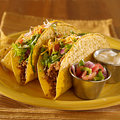 Two tacos with salsa and sour cream Stock Image