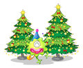 Two tall christmas trees at the back of a happy green monster illustration on white background Royalty Free Stock Photos