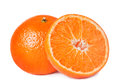 Two tangerine citrus fruit isolated on white Stock Photography