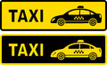 Two taxi signs with modern car image Stock Photo