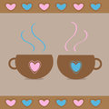 Two teacups with hearts. Love card