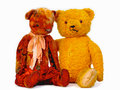 Two teddy bears hugging each other over white Royalty Free Stock Image