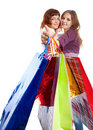 Two teen girls with bags Stock Photos