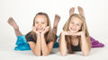 Two Teen Girls in Pantyhose Modeling Fashion Clothes in Studio Royalty Free Stock Photo