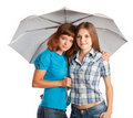 Two teen-girls with umbrella Royalty Free Stock Photo