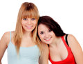 Two teen sisters isolated on white background Stock Photo