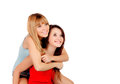 Two teen sisters isolated on white background Royalty Free Stock Photography