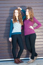Two teen young women posing dressed for spring or autumn Stock Photos